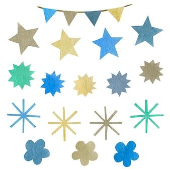 Conjunto em aquarela de flores de bandeiras de estrelas de flocos de neve isoladas no fundo branco