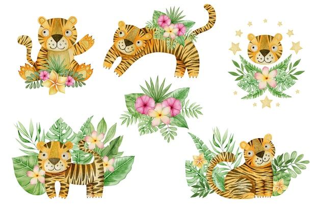Conjunto em aquarela de folhas tropicais de tigres e composições de flores isoladas no fundo branco