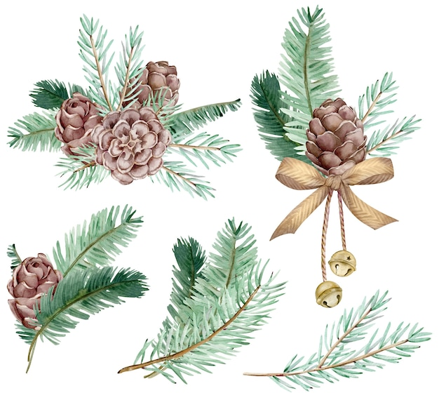 Conjunto em aquarela de galhos de pinheiro e cones com sinos e arco dourado, agulhas em fundo branco, ilustração botânica decorativa para design, plantas de natal. cartões de ano novo