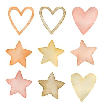 Conjunto em aquarela de ilustrações de estrelas de corações no estilo boho isolado no fundo branco