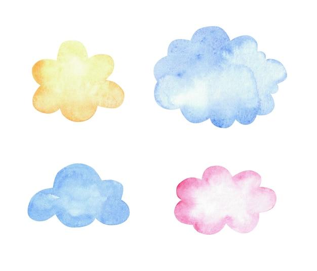 Conjunto em aquarela de nuvens isoladas em branco.