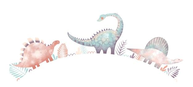 Conjunto infantil com ilustração de dinossauros folhas de palmeira dooodles isolados no fundo branco