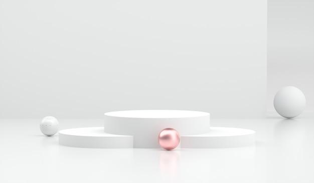 Conjunto mínimo abstrato de pódio de cilindro em branco