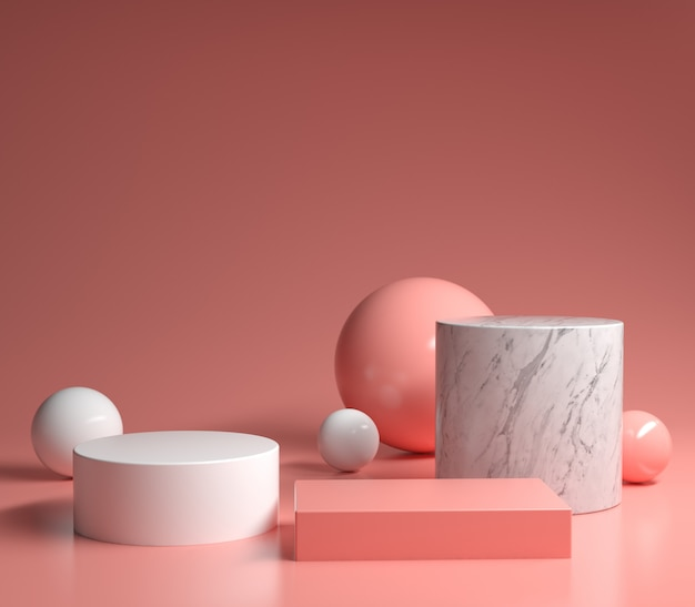 Conjunto moderno mínimo primitivo geométrico rosa pódio renderização em 3d