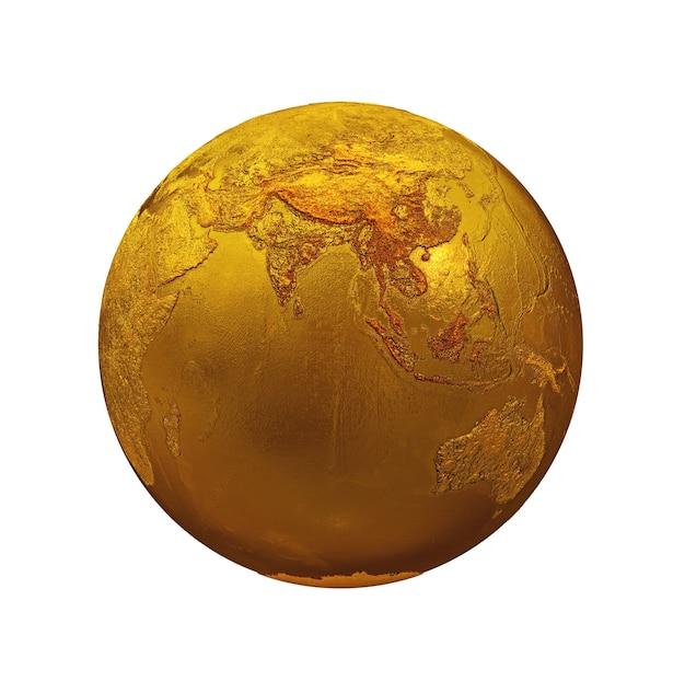 Conjunto realista de topografia golden metal earth globe isolado em um fundo branco. ásia, europa, áfrica, américa, austrália. ilustração de renderização 3d