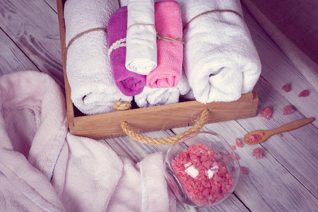 Conjunto rosa de acessórios de balneário para spa