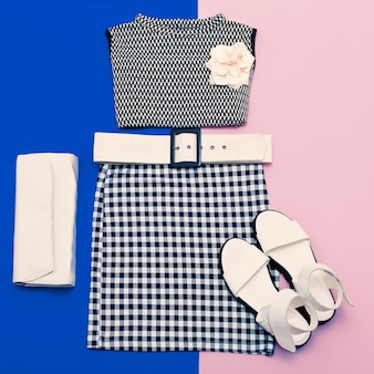 Conjunto vanilla ladies. roupas e acessórios da moda