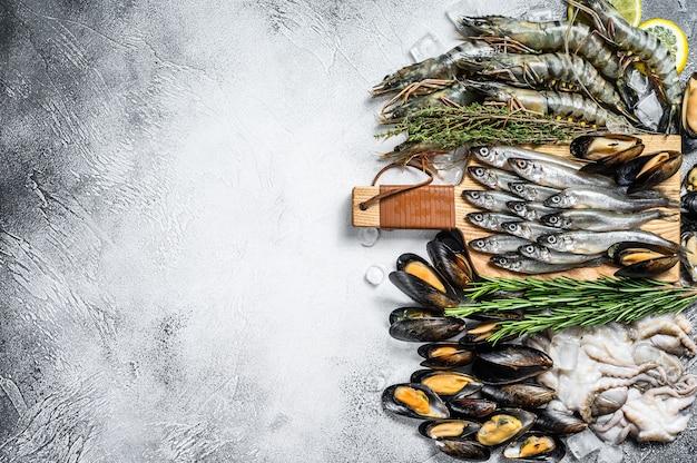 Conjunto variado de frutos do mar frescos