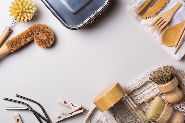 Conjunto zero de resíduos plásticos de utensílios de cozinha reutilizáveis