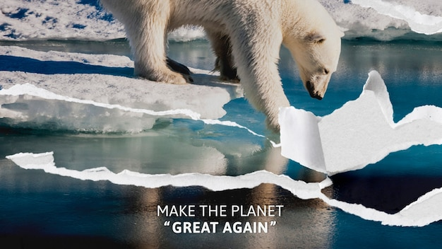 Conscientização do aquecimento global com fundo rasgado de urso polar