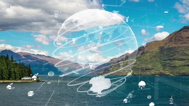 Conservação ambiental futura e desenvolvimento de modernização esg sustentável