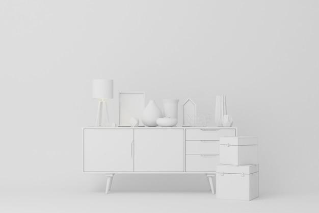 Console branco com renderização 3d de decorações de mesa