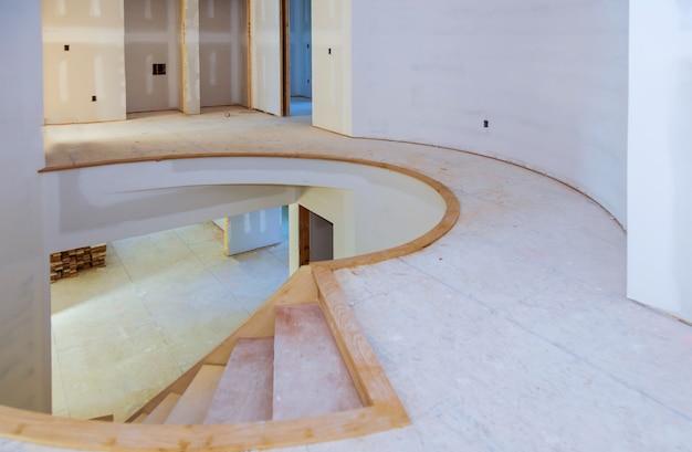 Construção, construção nova, casa, construção, interior, drywall, fita, e, acabamento, detalhes