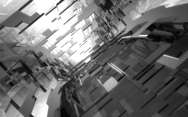 Construção de blocos de túnel abstrato. ilustração 3d