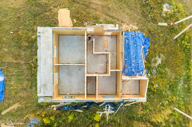 Construção de casa modular nova e moderna