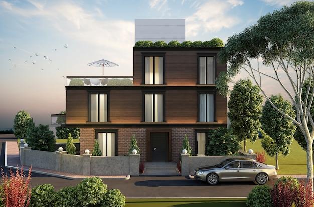 Construção de casas na cidade com paisagem, renderização 3d