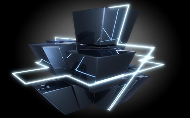 Construção de cubos abstratos com ilustração de luz de néon.