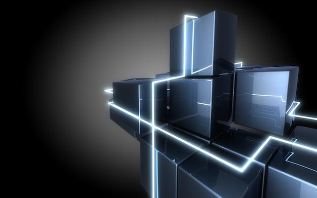 Construção de cubos abstratos com luz de néon.3d illustrationa