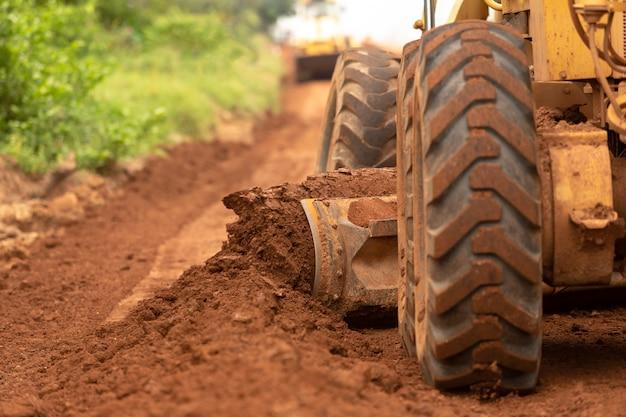 Construção de estradas de base de melhoria de construção civil motoniveladora.