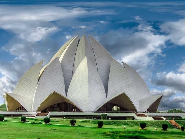 Construção de novo templo lótus arquitetura delhi