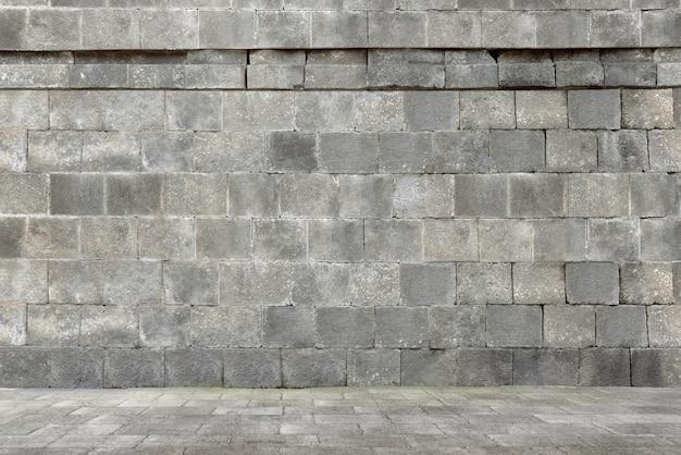 Construção de parede de pedra antiga
