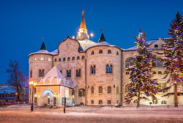 Construção do banco do estado em nizhny novgorod no inverno