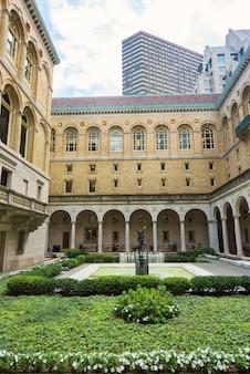 Construção do tribunal da biblioteca pública da cidade de boston