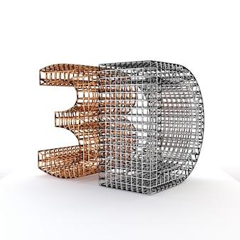 Construção do wireframe do símbolo 3d, isolada no fundo branco. ilustração 3d.