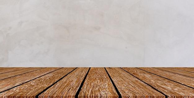 Construção exterior textura de fundo de parede retrô cinza cimento com balcão de madeira velho para show, anúncios