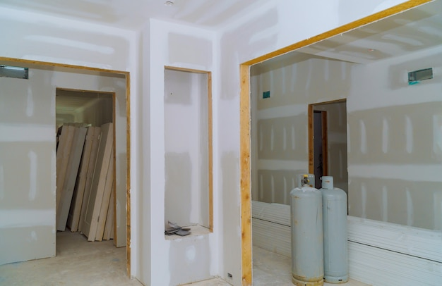 Construção indústria de construção nova casa construção drywall interior e detalhes de acabamento