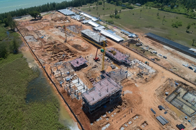 Construção vista aérea