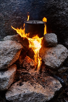 Construiu uma fogueira na floresta na natureza. sobreviver