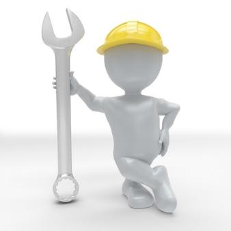 Construtor 3d morph man com chave inglesa