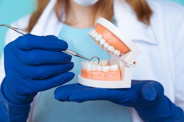 Consulta de dentista, instrumentos de odontologia e conceito de check-up higienista dental com dentaduras modelo de dentes e instrumentos de estomatologia em cinza escuro. exames regulares são essenciais para a saúde bucal