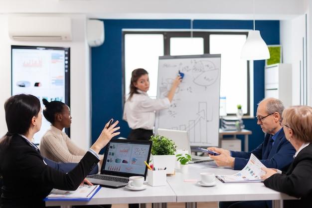 Consultor da empresa fazendo apresentações usando gráficos para a equipe
