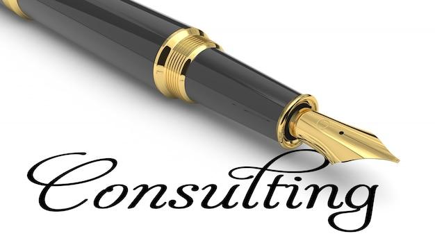 Consultoria palavra manuscrita com caneta-tinteiro
