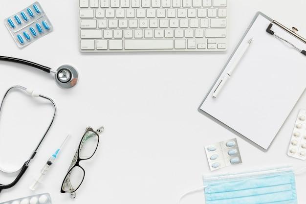 Consultório médico de vista superior