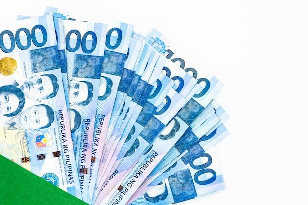 Conta filipino de 1000 pesos, moeda do dinheiro de filipinas, contas de dinheiro filipinos.