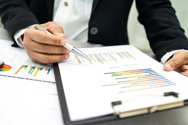 Contador asiático trabalhando e analisando o projeto de relatórios financeiros.