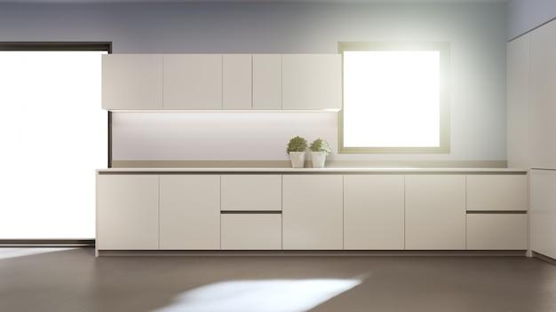Contador limpo branco e armário da cozinha moderna na casa nova.