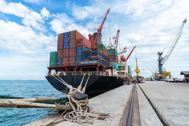 Container, container ship em importação exportação e business logistic