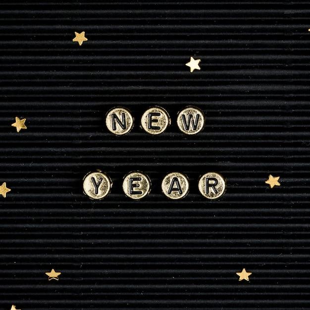 Contas de ano novo com letras de palavras tipografia