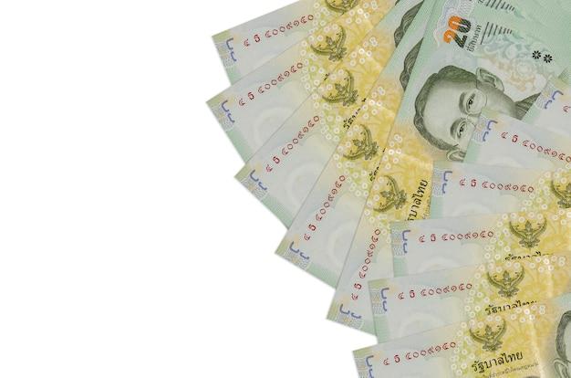 Contas de baht tailandês isoladas em um fundo branco