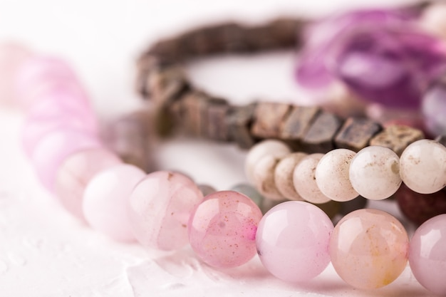 Contas de pedra de quartzo rosa