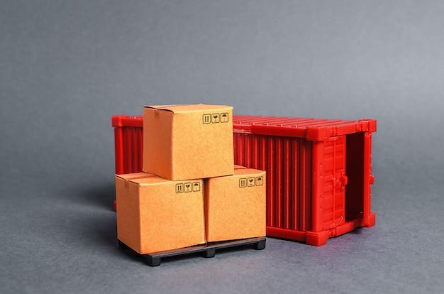 Contêiner de carga vermelho com caixas infraestrutura de transporte empresarial e industrial