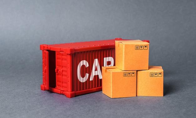 Contêiner de carga vermelho com caixas o conceito de comércio e troca de entrega de carga comercial de mercadorias