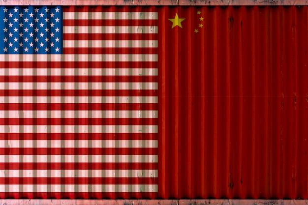 Contêiner de remessa com fundo de bandeira eua e china, estado unido e conceito de guerra comercial da china