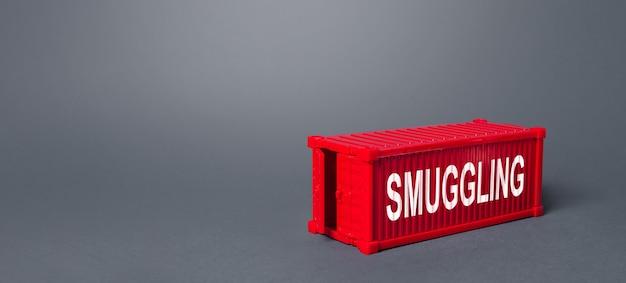 Contêiner de transporte de carga vermelha com a palavra contrabando.