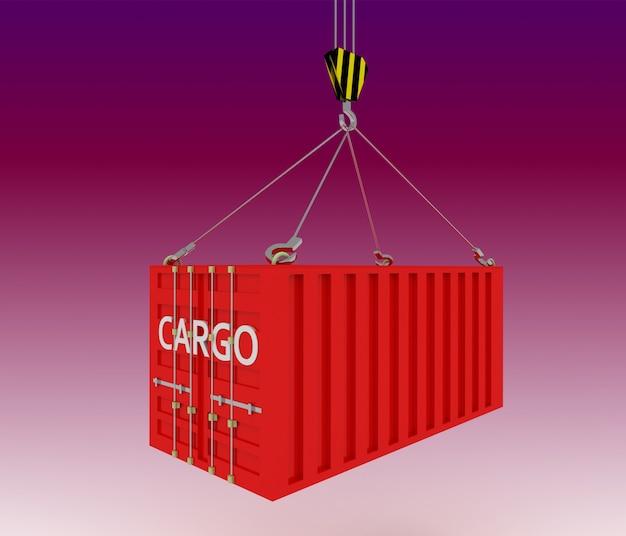 Contêiner marítimo levantado por guindaste. ilustração 3d renderizada