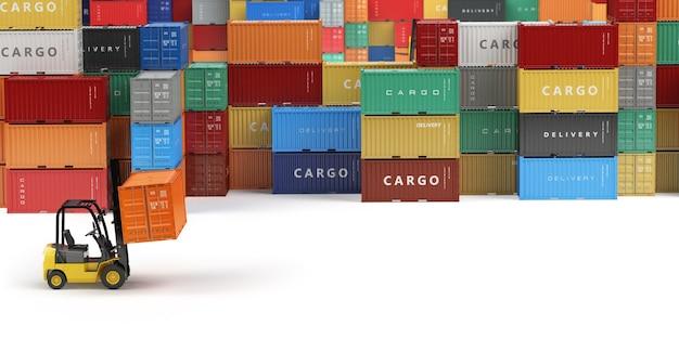 Contêineres de transporte de carga na área de armazenamento com empilhadeiras